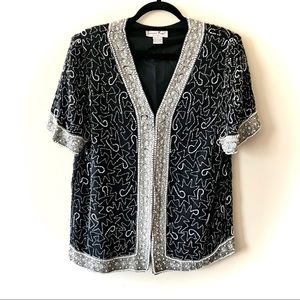Laurence Kazar Silk Beaded Vintage Evening Blouse